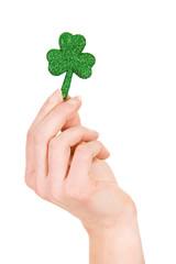 Green: Hand Holding Glitter Shamrock