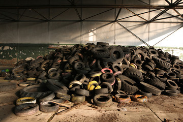 Old car tires in the area of the former Soviet military base in