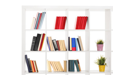 Studio shot of a white wooden bookshelf