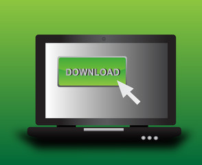 Laptop with download icon