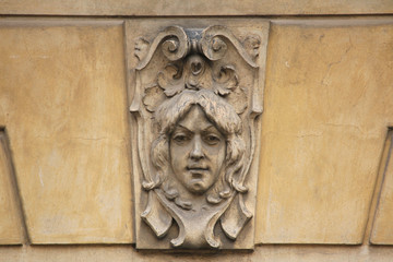 Mascaron on the Art Nouveau building in Prague.