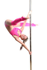 Young pole dance woman make twisted grip handspring isolated