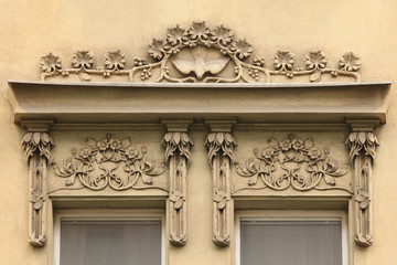 Floral ornamental decoration on the Art Nouveau building
