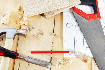 Still life with carpenter working tools on the workbench