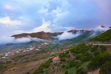 Sunset in mountains at Tenerife island - Canary