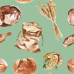 Seamless pattern with bread, flour, wheat. Watercolor