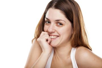 portrait of pretty happy woman in anticipation