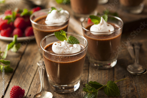 Foto op Plexiglas Dessert Homemade Dark Chocolate Mousse