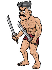 Vector illustration of warrior holding sword