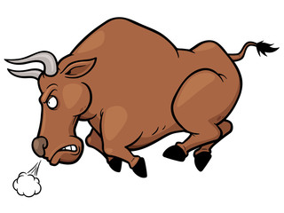 Vector illustration of cartoon Angry bull
