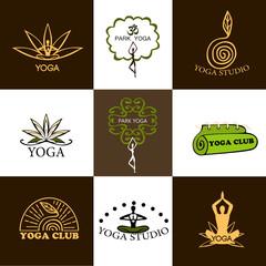 Set of logos of yoga and meditation