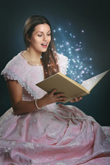 Fairy tale princess with magical book
