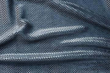 texture of crumpled blue brilliant fabric