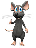 Smiling cartoon mouse doing a thumbs up.
