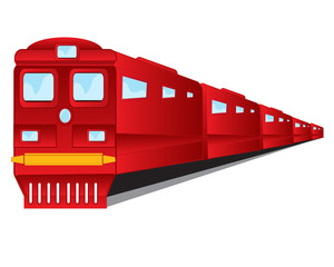 Train of the red colour on white background