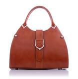 Fototapety Brown leather handbag on white background