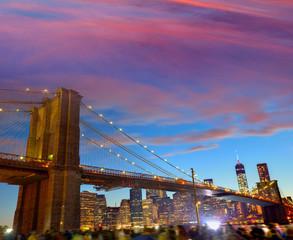 Brooklyn bridge and Manhattan skyline July 4th
