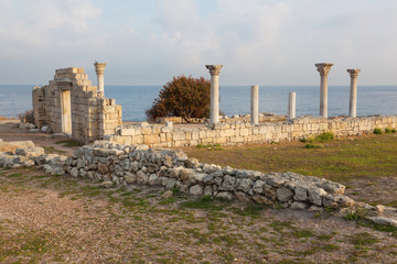 Colonnade in ruins of Ancient Greek city of Chersonese , Crimea