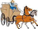 Stagecoach Driver Horse Cartoon poster