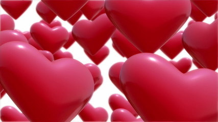 Red hearts flying up.Seamless loop