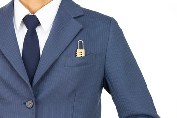Businessman and Combination Lock in Pocket on Straight View Isol