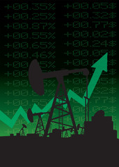 Oil price growth illustration with green up arrow