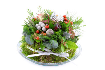 Christmas arrangement with ornaments