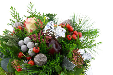 Christmas arrangement with red berries and ornaments