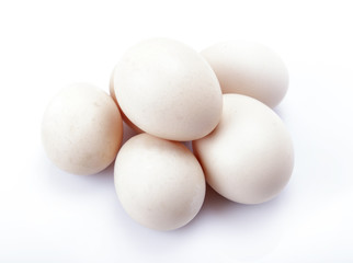 Fresh chicken eggs on white background