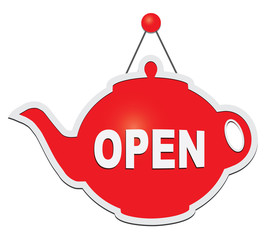 Sign in the form of a teapot - open