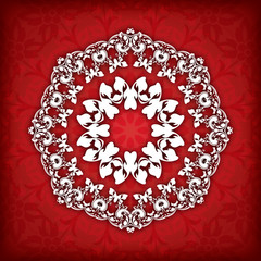 Abstract vector circle floral ornamental border.