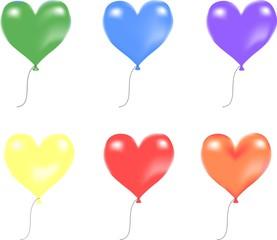 Balloon hearts set
