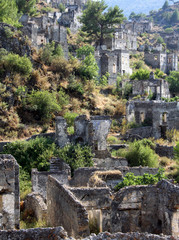Ghost town of Kayakoy (Turkey)