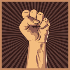 Clenched fist held high in protest background