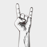 Fototapety Hand in rock sign