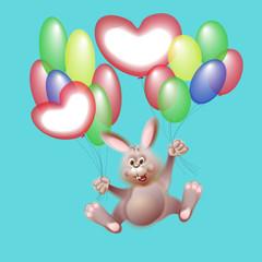 Rabbit flies on the balloons