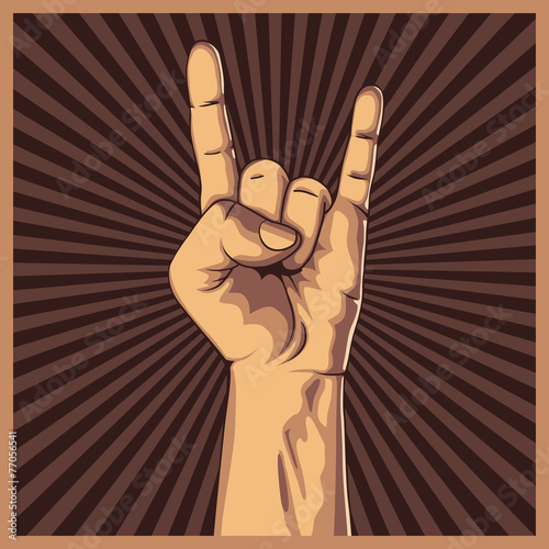Hand in rock sign background. - 77056541