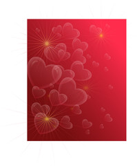 red background with hearts