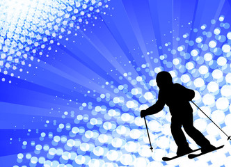 child skiing silhouette on the abstract background - vector