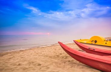 Viareggio view of long sand beach, Versilia,Tuscany, Italy.