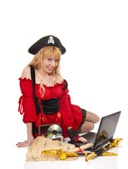Cute pirate woman with lap top isolated on white