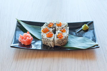 Asian Food: plate with sushi rolls
