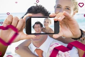 Composite image of valentines couple