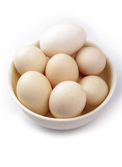 Fresh chicken eggs in a plate