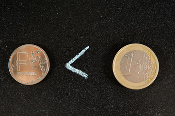 coin rouble and the Euro in comparison