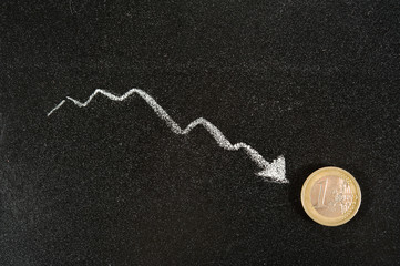 coin Euro on the background of the graph reduction