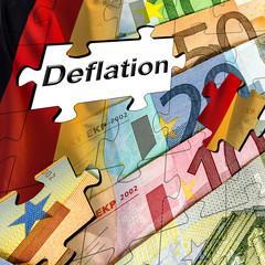 Deflation Puzzle aus Euroscheinen und Deutschlandfahne