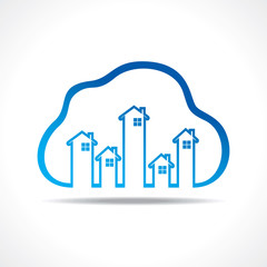 Group of up homes in the cloud stock vector