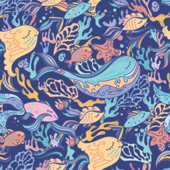 Sea pattern with whale
