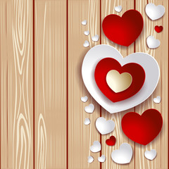Valentine illustration with hearts on wooden background
